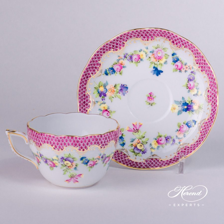 Basic Tea Set for 2 Persons - LTBS-EPH Flower Garland Purple Fish Scale decor. Herend porcelain hand painted