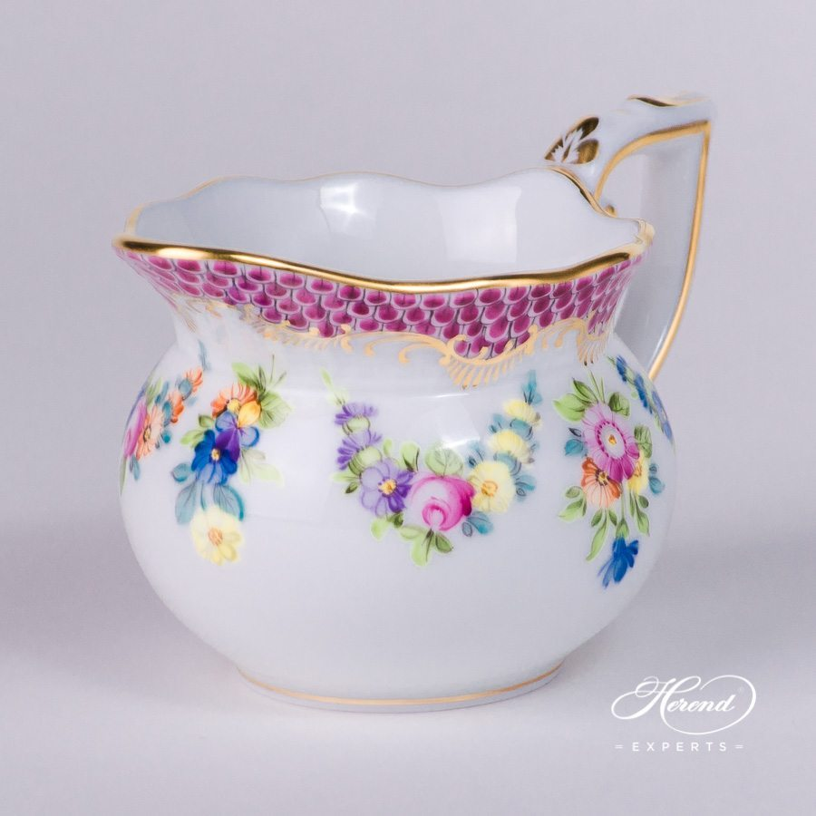Creamer 644-0-00 LTBS-EPH Flower Garland Purple Fish Scale decor. Herend porcelain hand painted