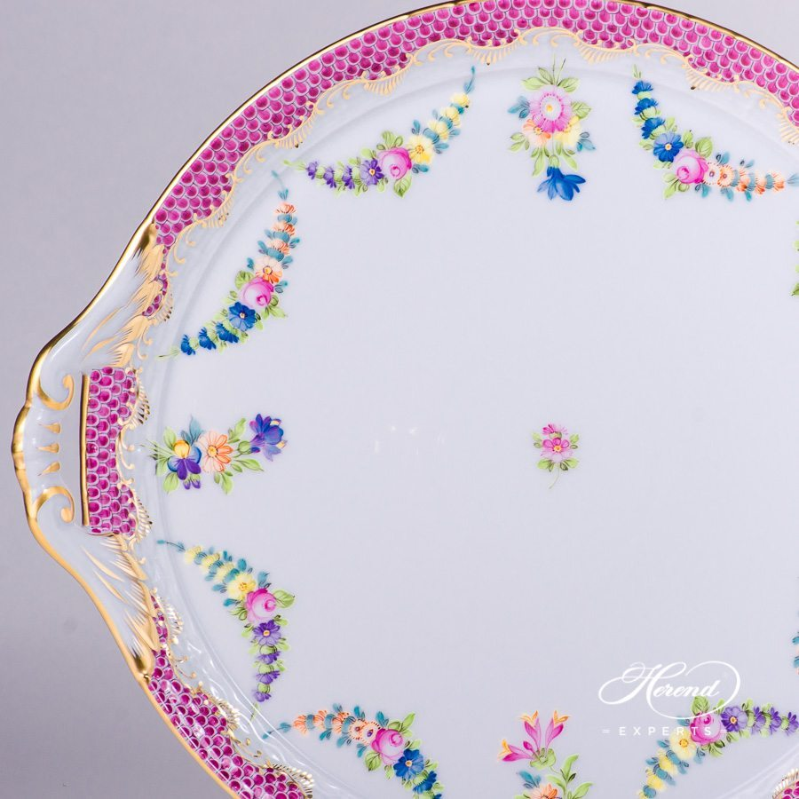 Cake Plate with Handle 315-0-00 LTBS-EPH Flower Garland Purple Fish Scale decor. Herend porcelain hand painted