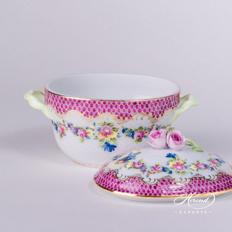 Sugar Basin with Rose Knob 6012-0-09 LTBS-EPH Flower Garland Purple Fish Scale decor. Herend porcelain hand painted