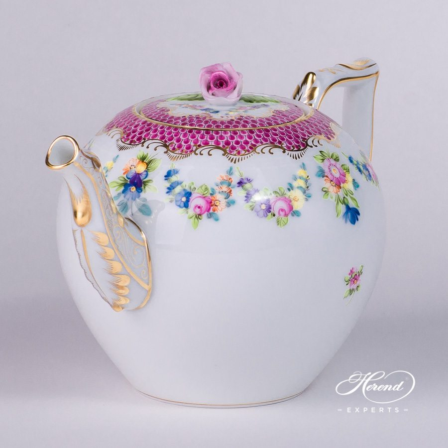 Tea Pot with Rose Knob 605-0-09 LTBS-EPH Flower Garland Purple Fish Scale pattern. Herend porcelain hand painted