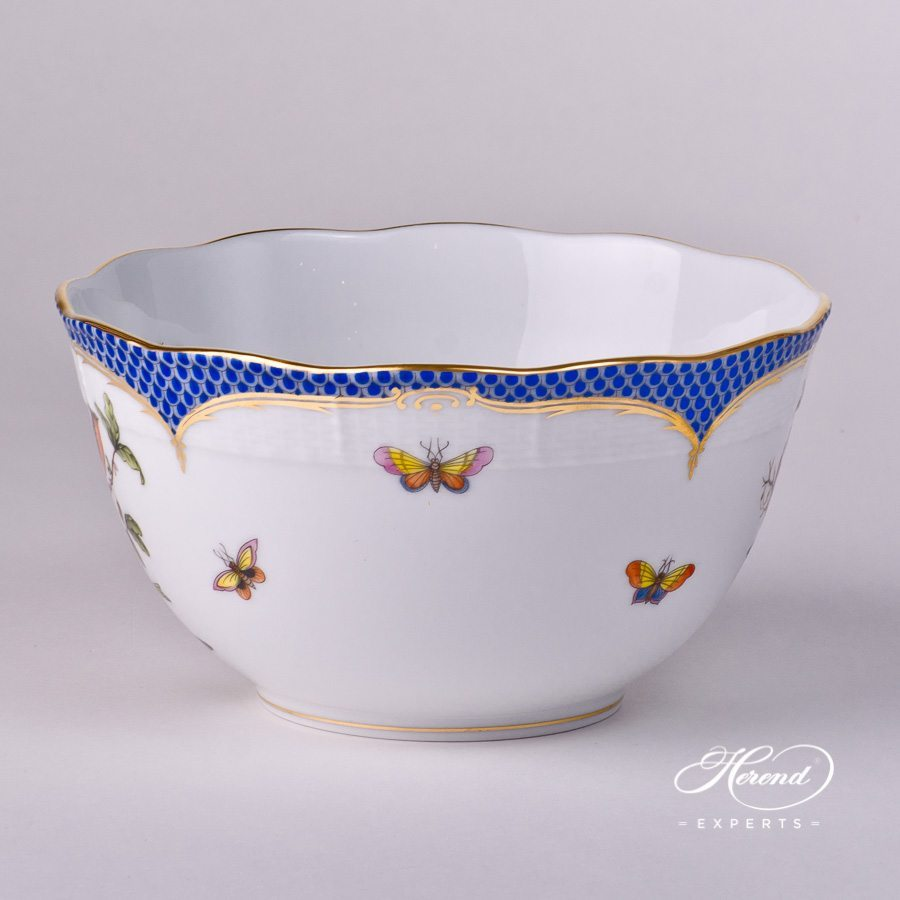 Bowl 362-0-00 RO-EB Rothschild Bird Blue Fish Scale design. Herend fine china hand painted. Tableware