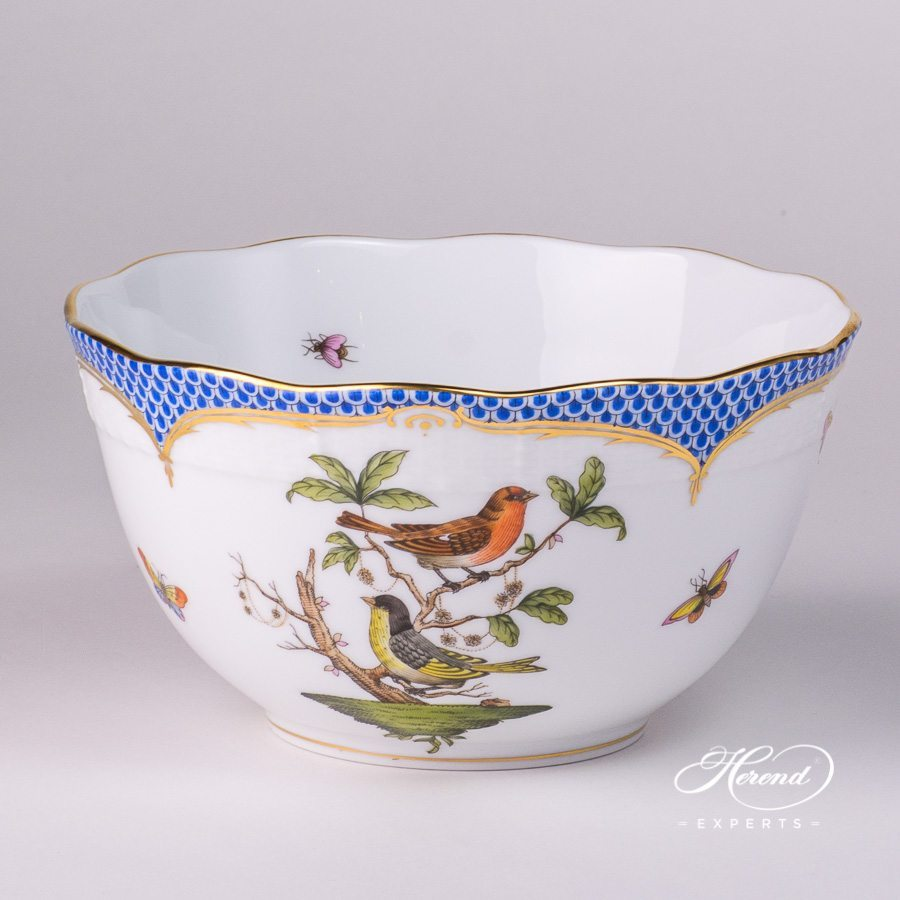 Bowl 2 pc 362-0-00 RO-EB Rothschild Bird with Blue Fishnet decor - Herend porcelain hand painted.