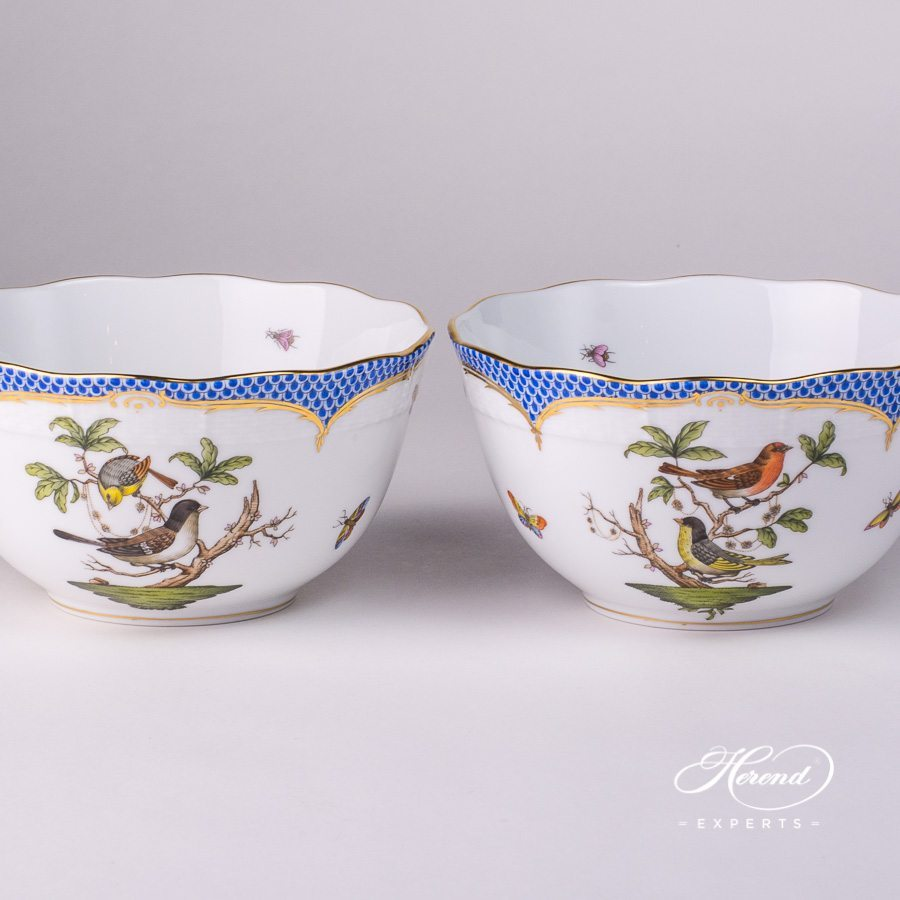 Bowl - 2 Pieces - 362-0-00 RO-EB Rothschild Bird Blue Fish Scale design. Herend fine china hand painted. Tableware