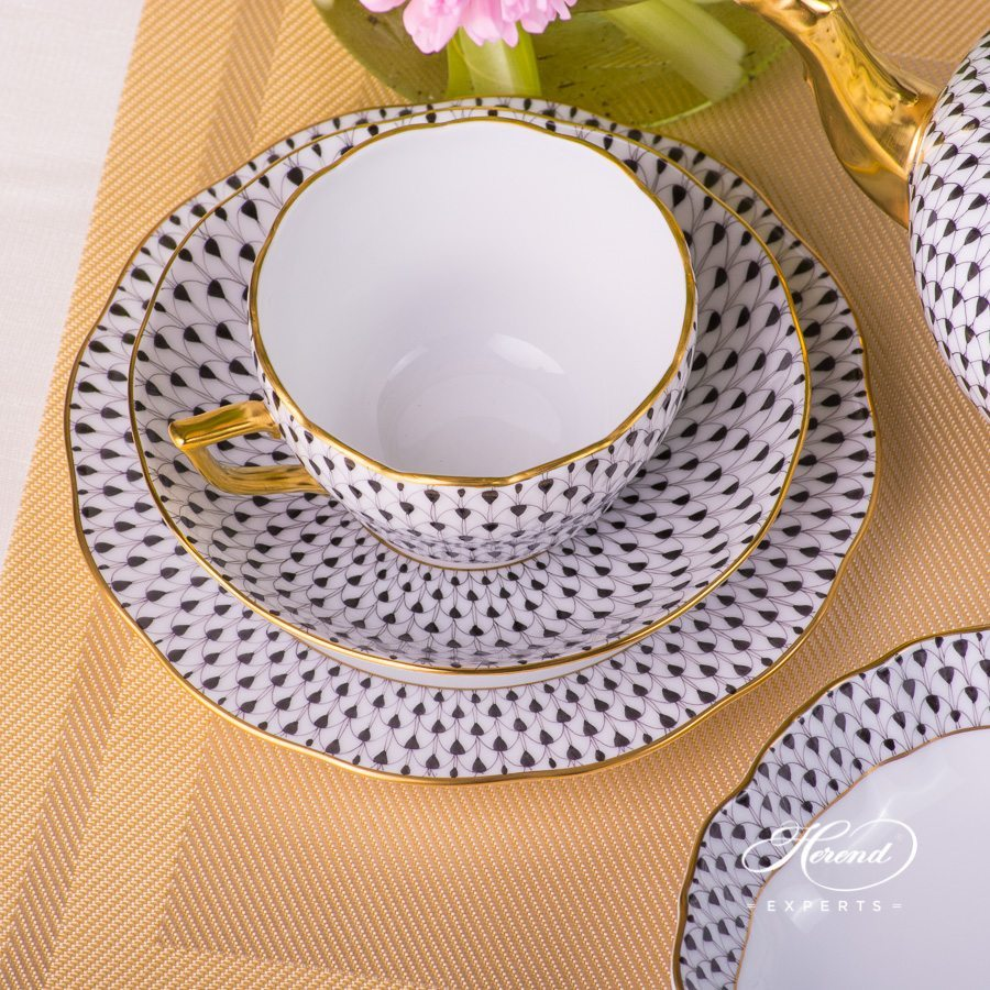 Breakfast Set for 2 Person 20730-0-00 and 20515-0-00 VHN Black and VHL Lilac Fish Scale patterns. Herend fine china