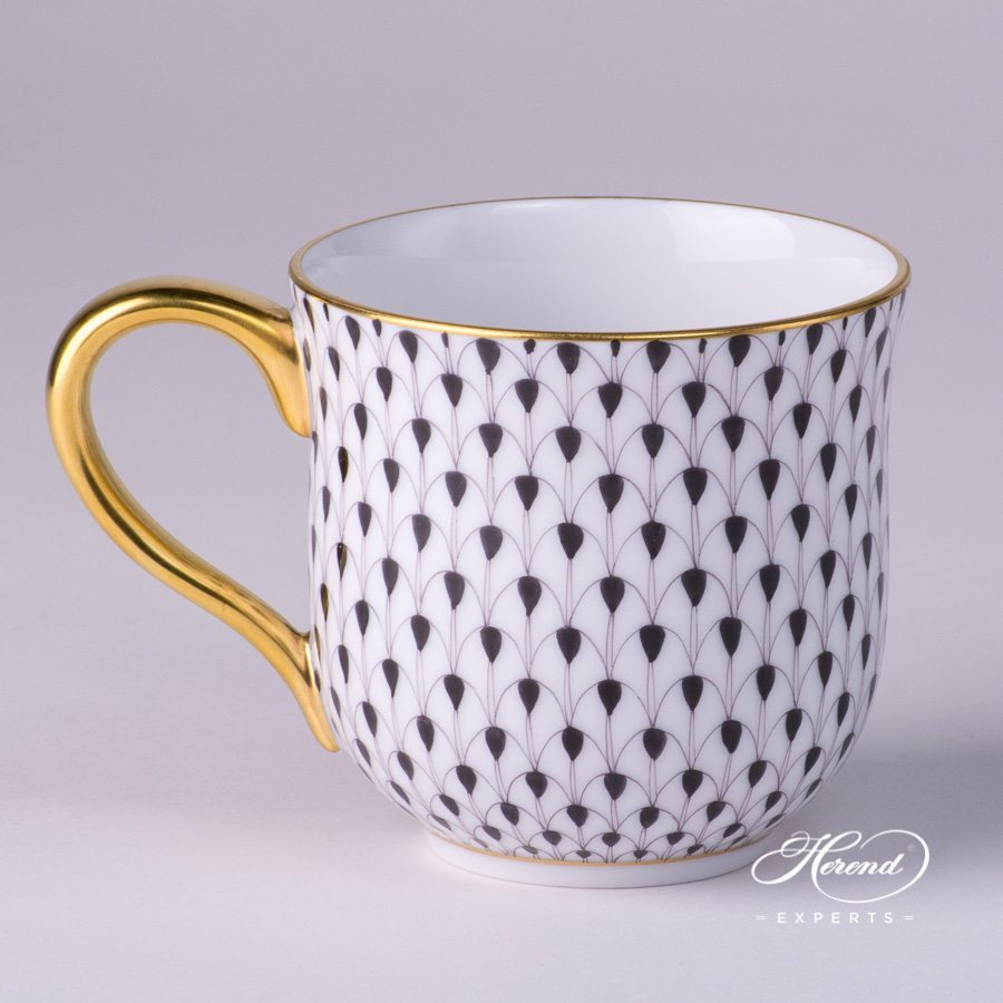 Universal Cup / Breakfast Cup 2739-0-00 VHN Black Fish Scale with Gold decor. Herend porcelain hand painted