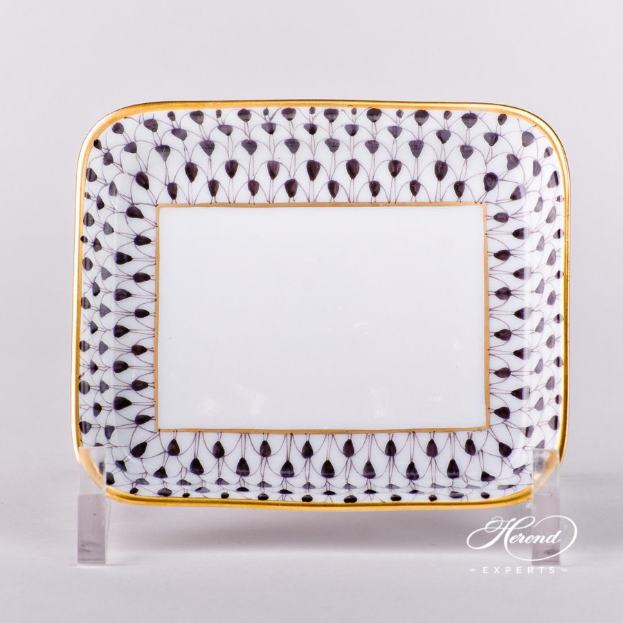 Small Square Dish 7733-0-00 VHN Black Fishnet pattern - Herend porcelain hand painted.