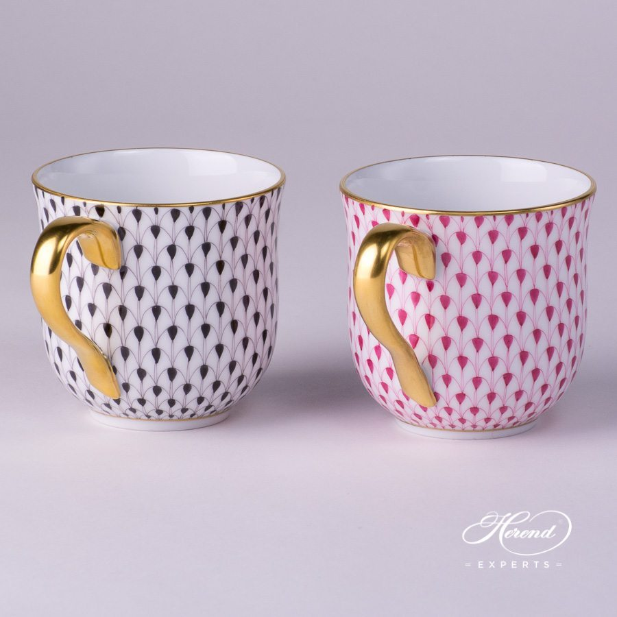 Universal Cup / Breakfast Cup 2739-0-00 VHN Black and VHP Purple Fish Scale with Gold decor. Herend porcelain hand painted