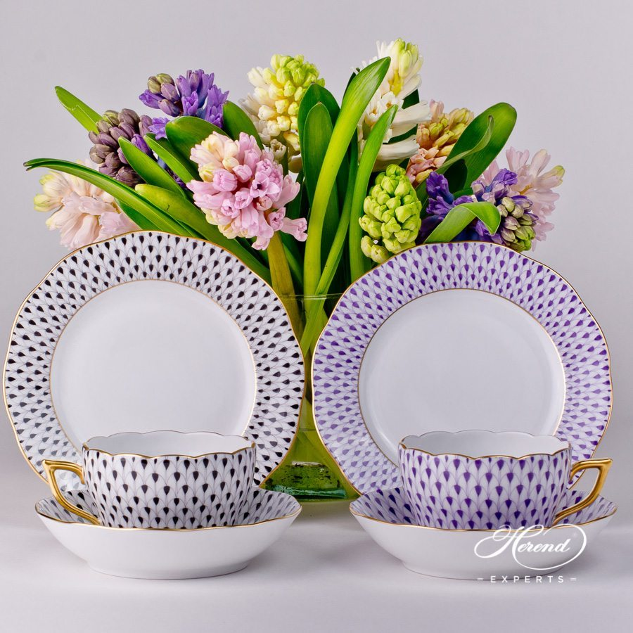 Breakfast Set for 2 Persons 20730-0-00 and 20515-0-00-VHN Black and VHL Lilac Fishnet patterns - Herend porcelain hand painted.