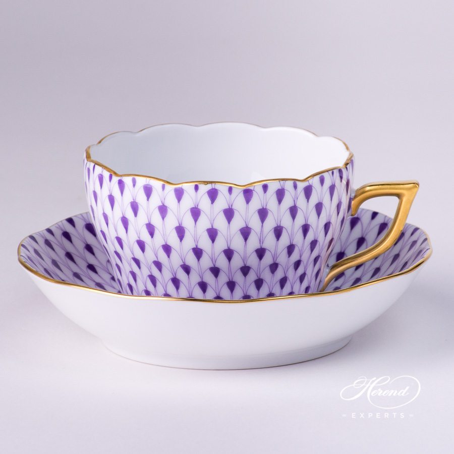 Tea Cup 20730-2-00 VHL and Saucer 20704-1-00 VHL Lilac Fish Scale pattern - Herend porcelain hand painted.