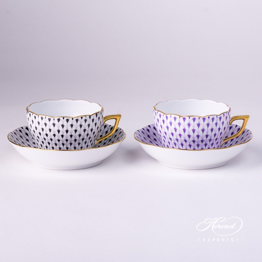 Tea Cup 20730-2-00 VHN and Saucer 20704-1-00 VHN Black Fish Scale pattern - Herend porcelain hand painted.