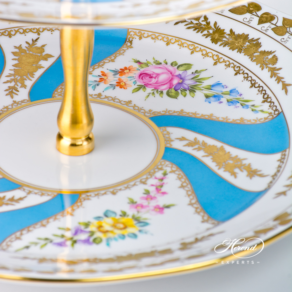 Cake Stand 3 Tier with Gilded Metal Handle 20309-0-92 COLETTE Rococo pattern. Herend fine china hand painted. Tableware