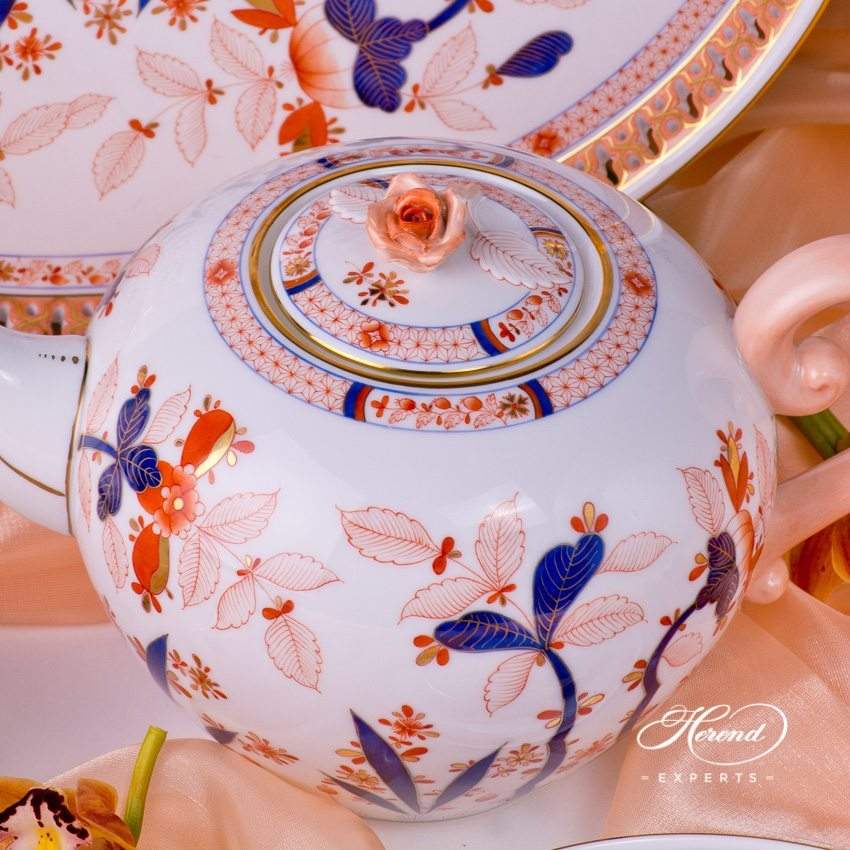 Tea Set for 2 Persons - Canton pattern. Herend fine china hand painted. Chinoiserie and Oriental Style design
