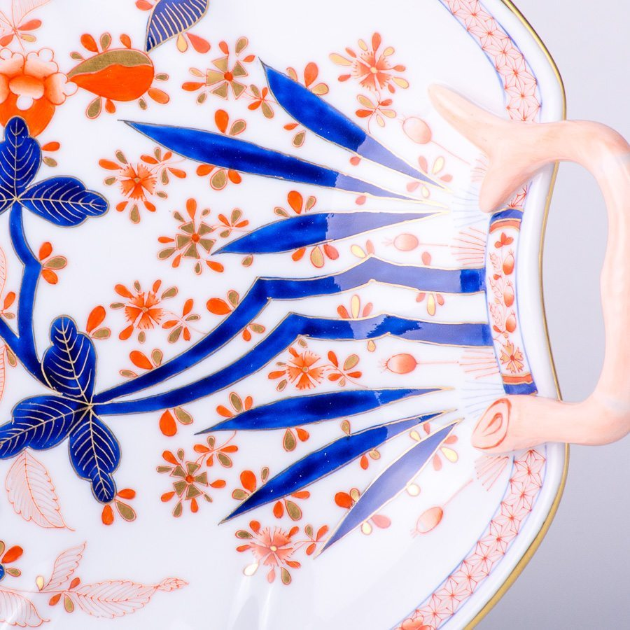 Leaf Dish w. Handle 2202-0-00 Canton design. Herend fine china tableware. Hand painted. Classical Oriental design
