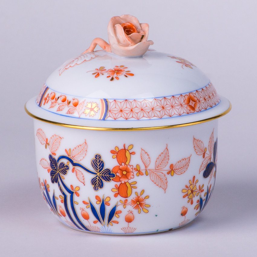 Sugar Basinw. Rose Knob 2463-0-09 Canton pattern. Herend fine china tableware. Hand painted. Classical Oriental design