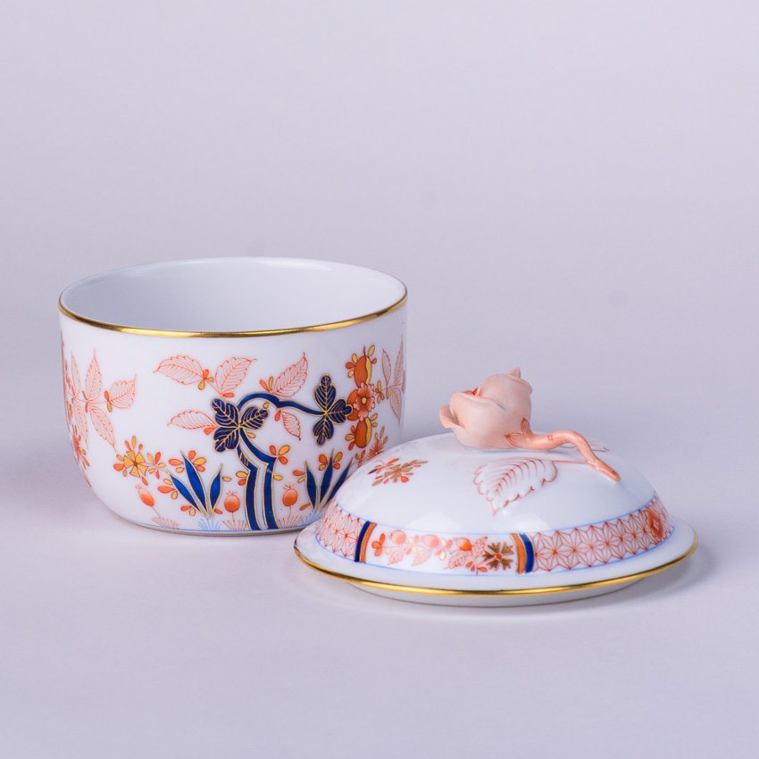 Sugar Basin  w. Rose Knob 2463-0-09 Canton pattern. Herend fine china tableware. Hand painted. Classical Oriental design