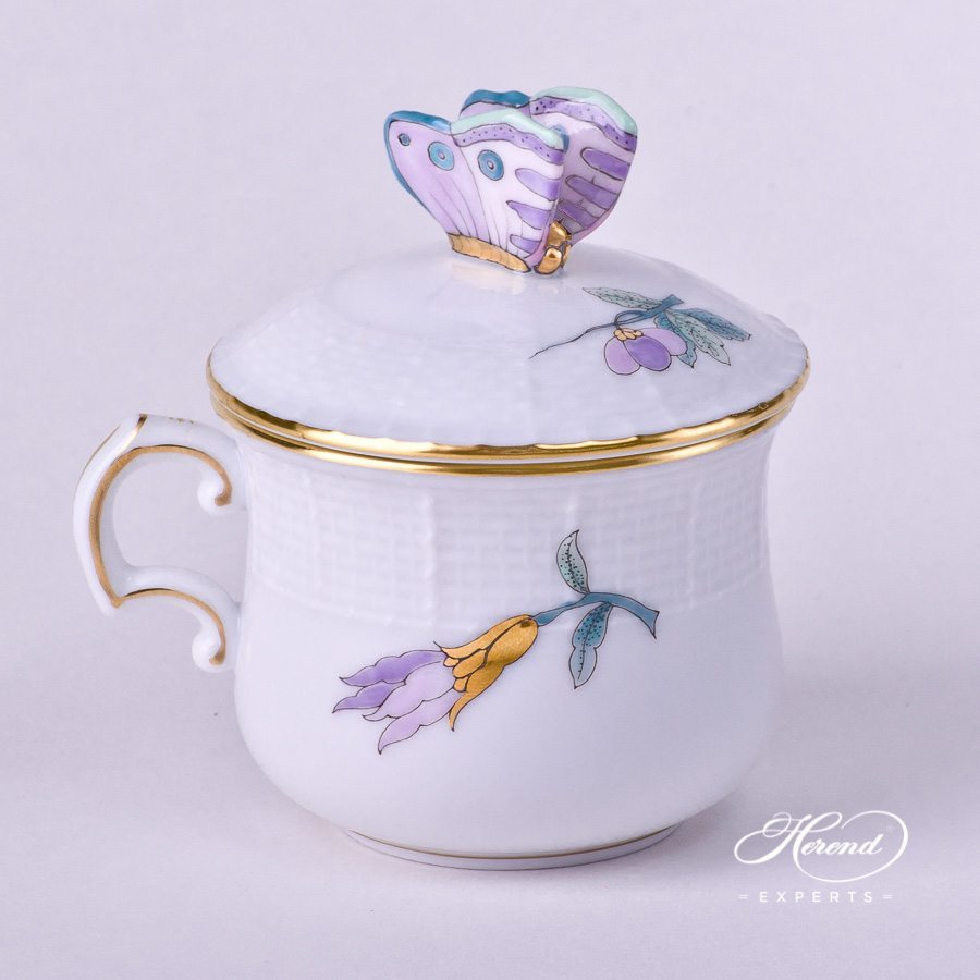 Cream Cupw.Butterfly Knob 385-0-17 EVICTF2 Royal Garden Turquoise Flower pattern. Herend fine china hand painted