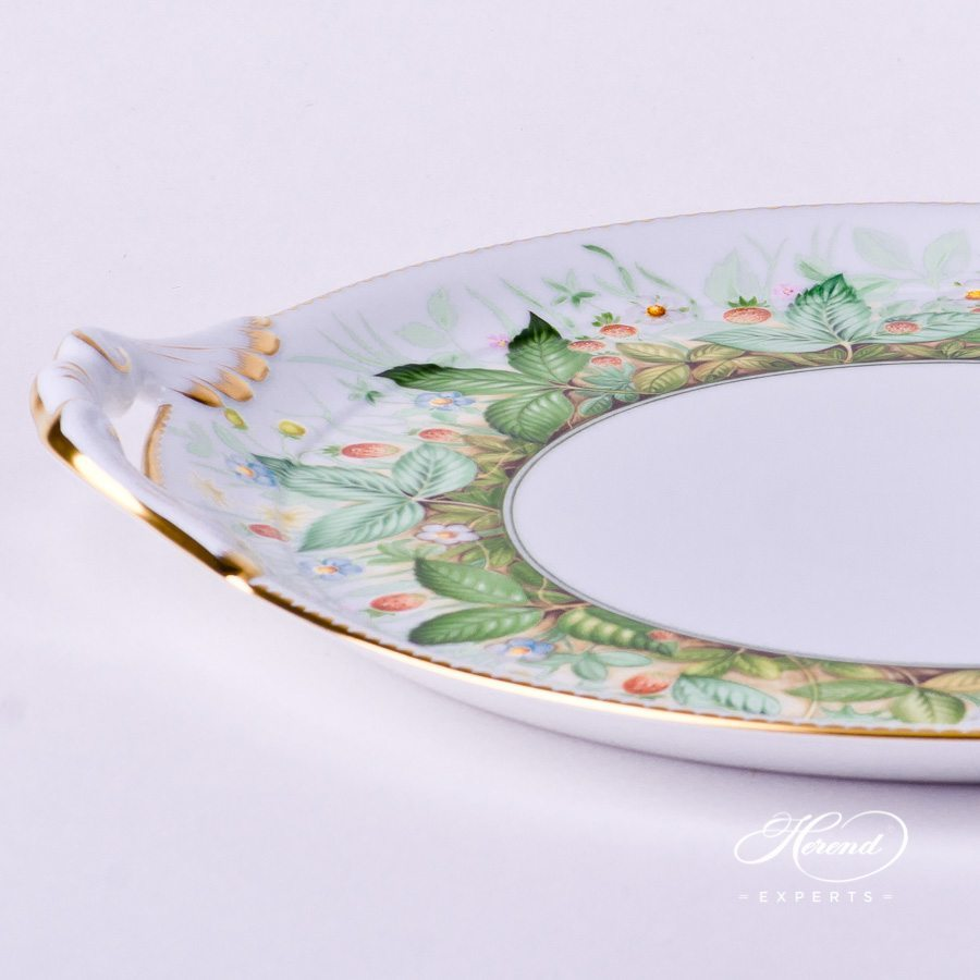 CakePlate w. Handle 2315-0-00 FSB Strawberry pattern. Herend porcelain hand painted