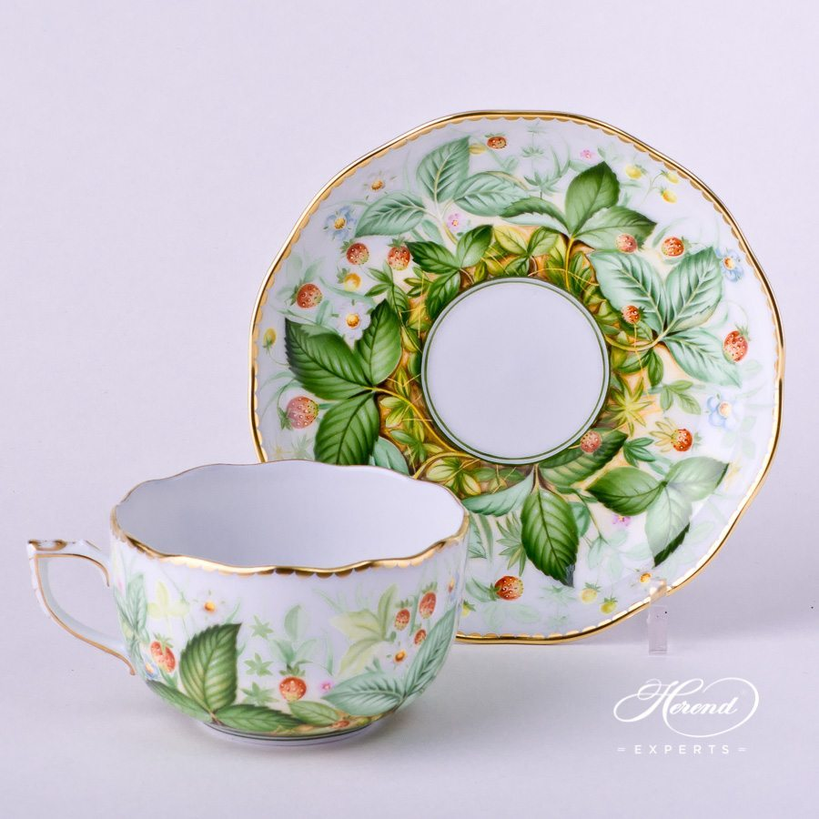 Tea Cup with Saucer 20724-0-00 FSB Strawberry decor. Herend porcelain hand painted