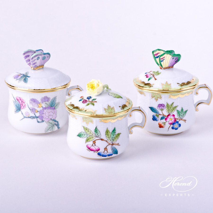 Cream Cups - EVICTF2 Royal Garden and VBA Queen Victoria patterns. Herend fine china hand painted. Classical style tableware