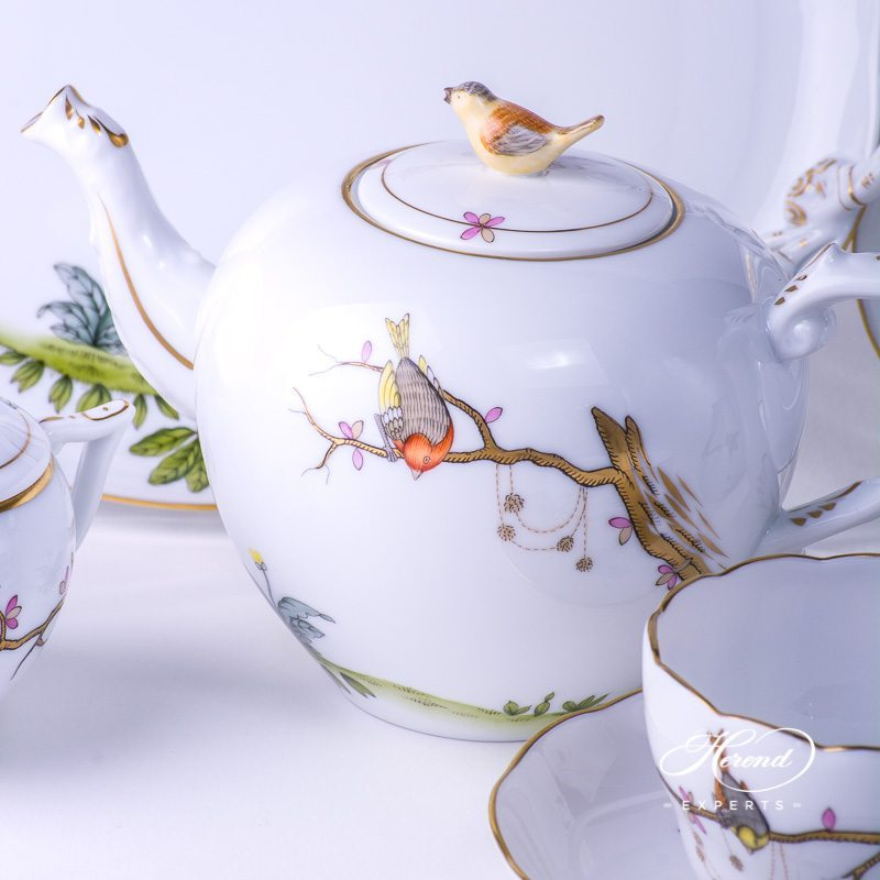 Tea Set for 2 People w. Dessert Plate - Herend Dream Garden REJA design. Herend fine china