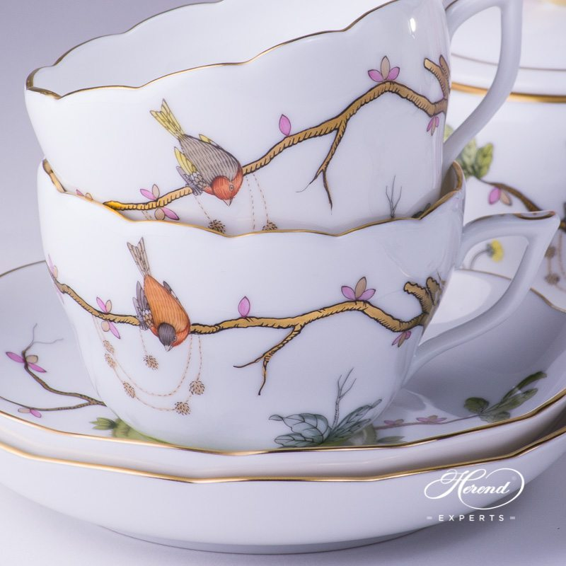Tea Set for 4 People w. Dessert Plate - Herend Dream Garden REJA design. Herend fine china