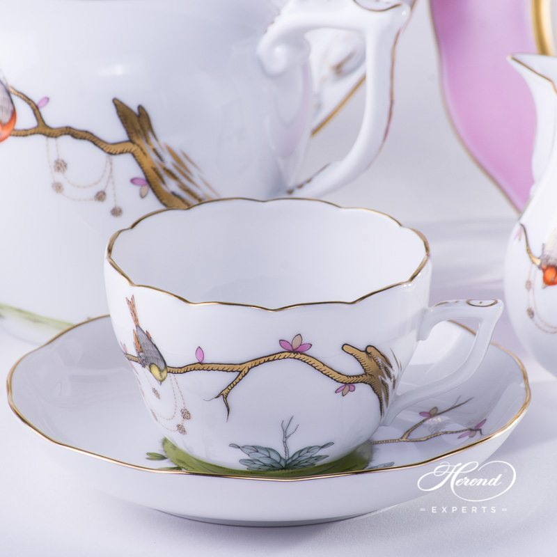 Tea Set for 2 People w. Cake Plate - Herend Dream Garden REJA design. Herend fine china