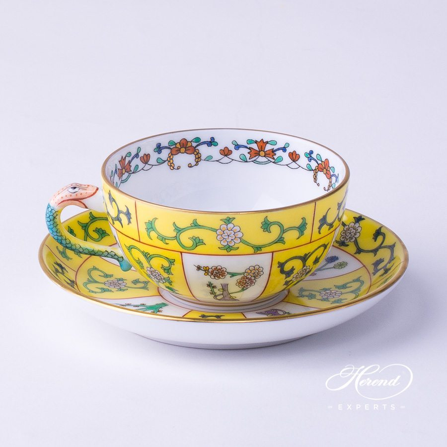 Coffee/Espresso Cup with Saucer 3474-0-00 SJ Siang Jaune decor. Herend fine china tableware. Hand painted