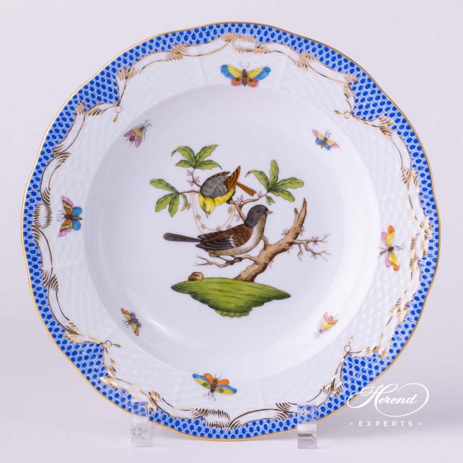 Dinner Set for 2 Persons - Herend Rothschild Bird Blue Fish Scale RO-ETB pattern. Herend fine china. Hand painted
