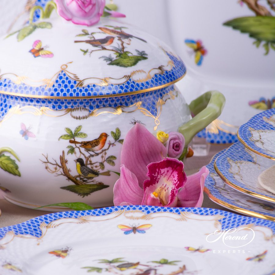 Dinner Set for 2 Persons- HerendRothschild Bird Blue Fish Scale RO-ETB pattern. Herend fine china. Hand painted