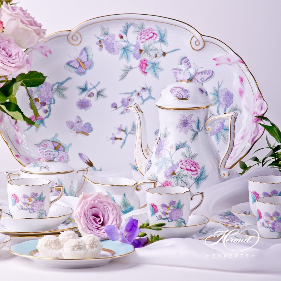 Coffee Set for 6 Persons - Herend Royal Garden EVICT2 Turquoise pattern. Herend porcelain hand painted