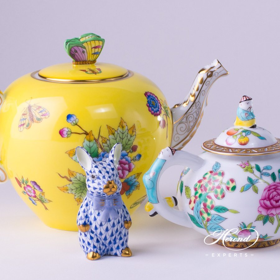 Tea Pot 20606-0-17 VE-FJ Yellow Queen Victoria and Tea Pot 3305-0-21 SP225 Luxurious Butterfly patterns. Herend fine china hand painted