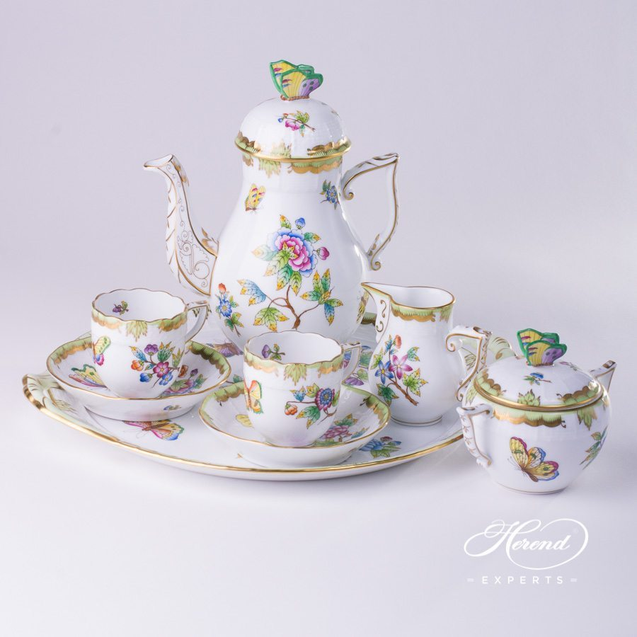 Coffee / Mocha Set for 2 Persons with Cake Plate - Queen Victoria VBO pattern. Herend porcelain hand painted