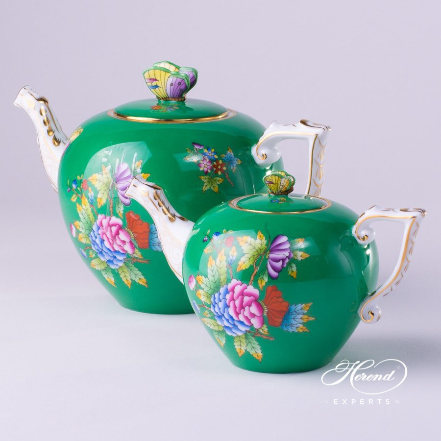 Tea Pot with Butterfly Knob 20608-0-09 VE-FV and 20606-0-09 VE-FV Green Queen Victoria pattern. Herend porcelain hand painted