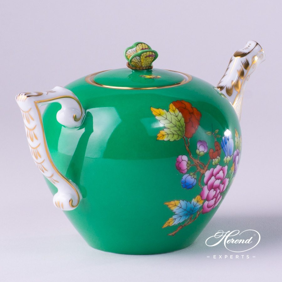 Tea PotwithButterfly Knob20608-0-17 VE-FV Green Queen Victoria pattern - Herend porcelain hand painted