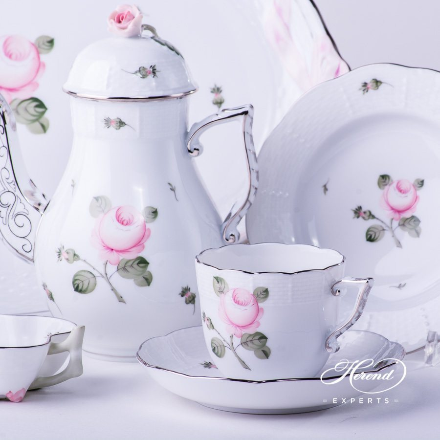 Coffee Set for 2 Persons w. Dessert Plate - Herend Vienna / Viennese Rose Platinum VGR-PT pattern. Herend fine china hand painted. Herend Flower pattern