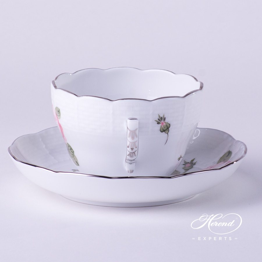 Tea Cup / Coffee Cup730-0-00 VGR-PT Vienna / Viennese Rose Platinum design. Herend fine china hand painted. Universal Cup