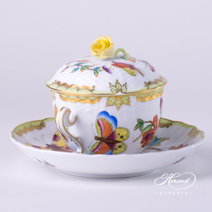 Soup Cup with Lid 1718-0-09 VICTORIA - Old Queen VICTORIA decor. Herend porcelain hand painted