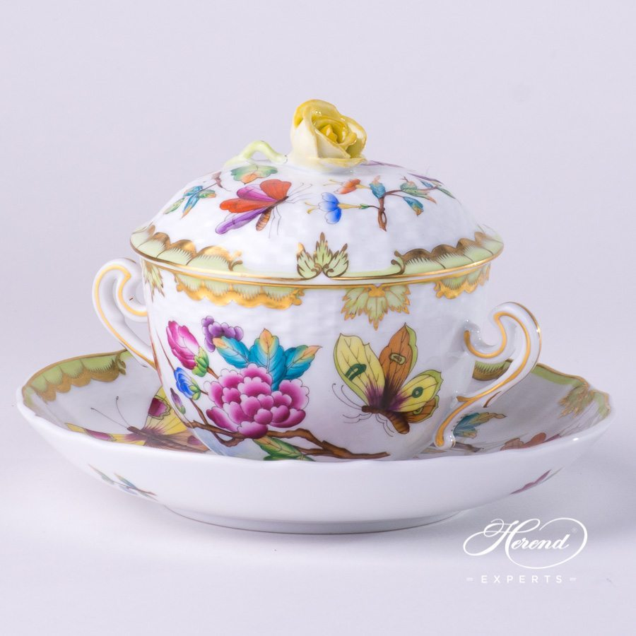 Soup Cup with Lid1718-0-09 VICTORIA - Old Queen VICTORIA decor. Herend porcelain hand painted