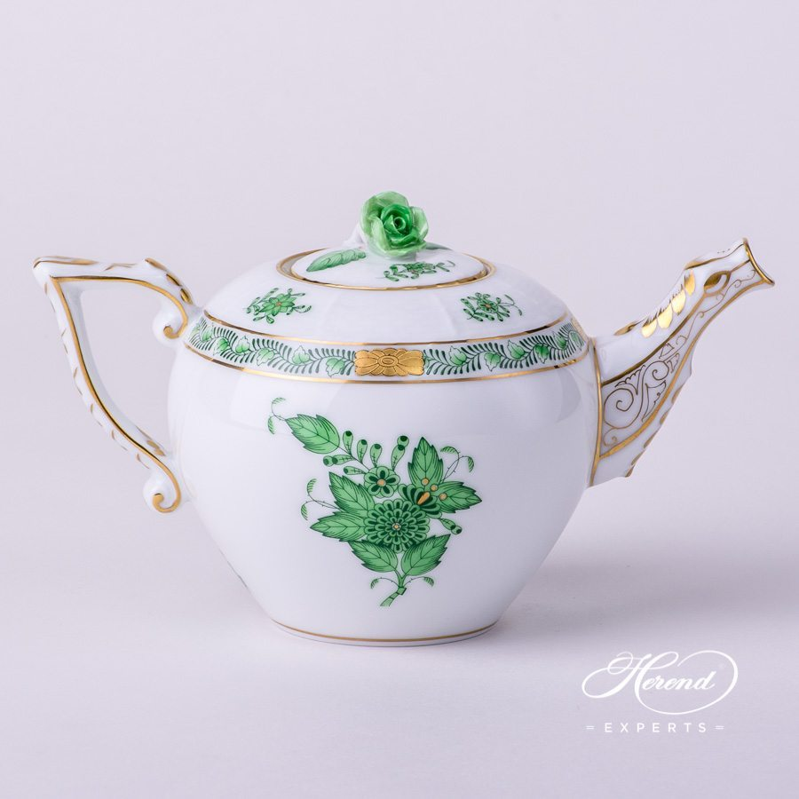Tea Pot w. Rose Knob 608-0-09 AV Chinese Bouquet / Apponyi Green decor. Herend porcelain hand painted