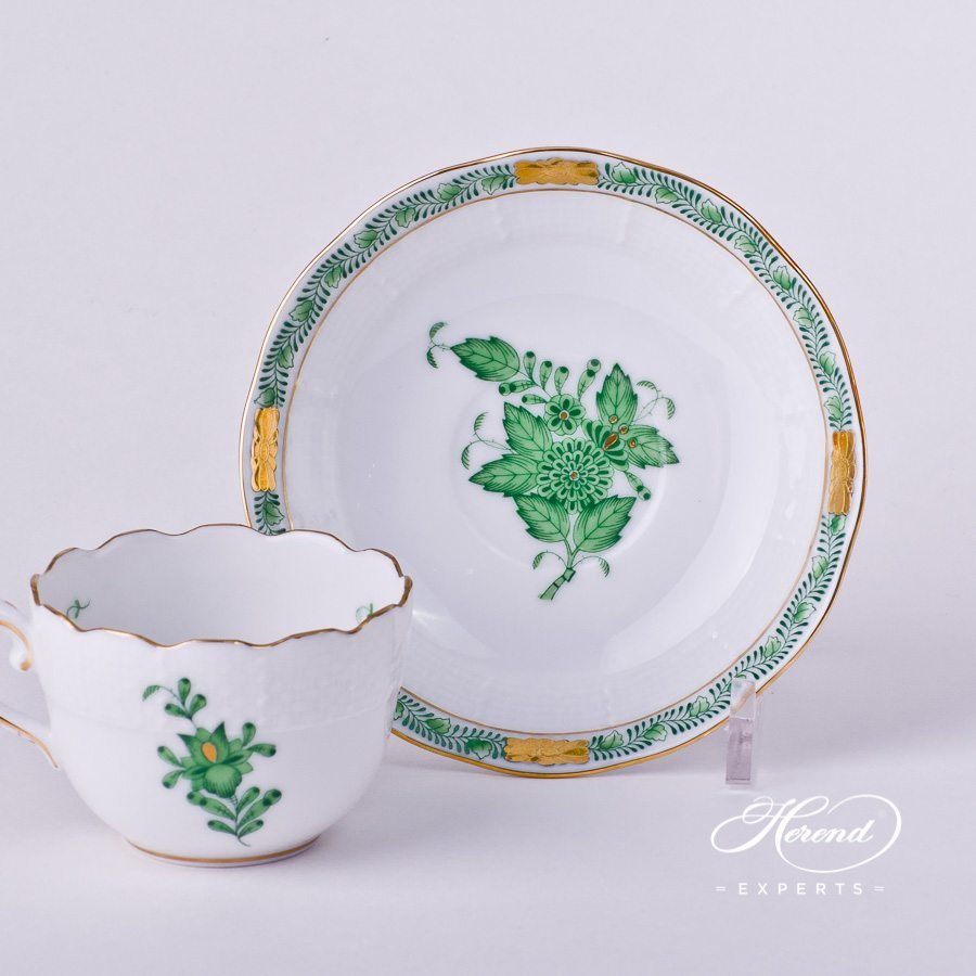 Coffee Cup with Saucer 711-0-00 AV Chinese Bouquet / Apponyi Green decor. Herend porcelain hand painted
