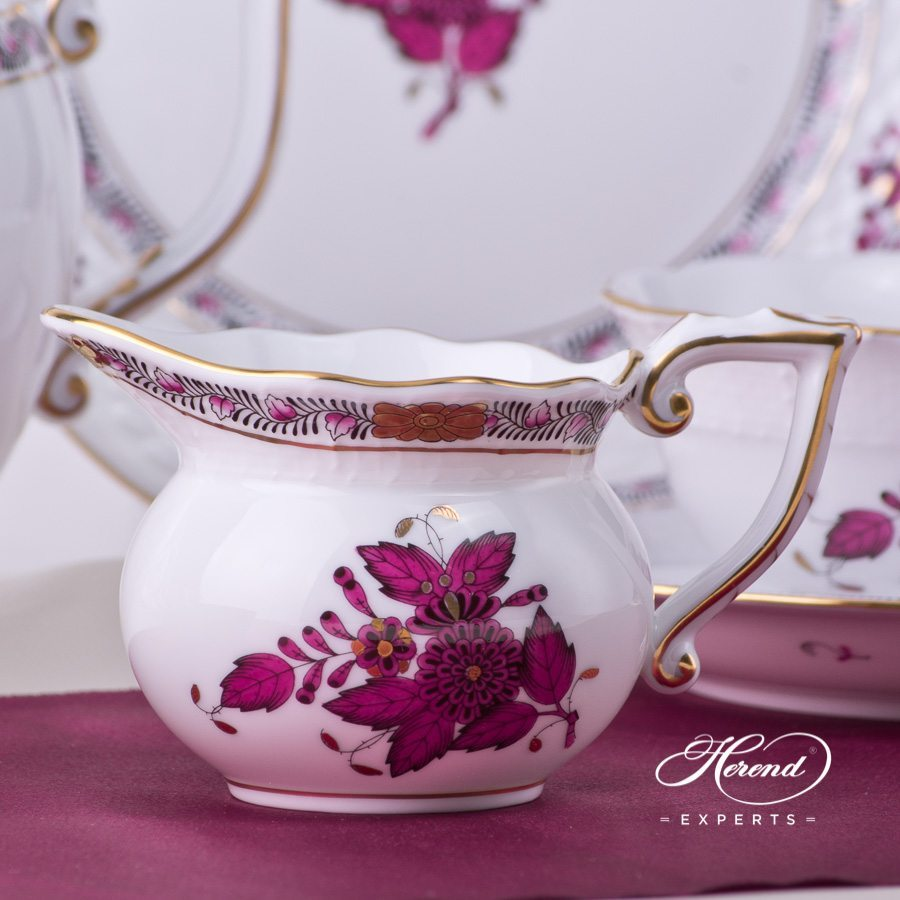 Tea Set for 2 Persons - Herend Chinese Bouquet / Apponyi Burgundy - AP3-X1 design. Herend fine china