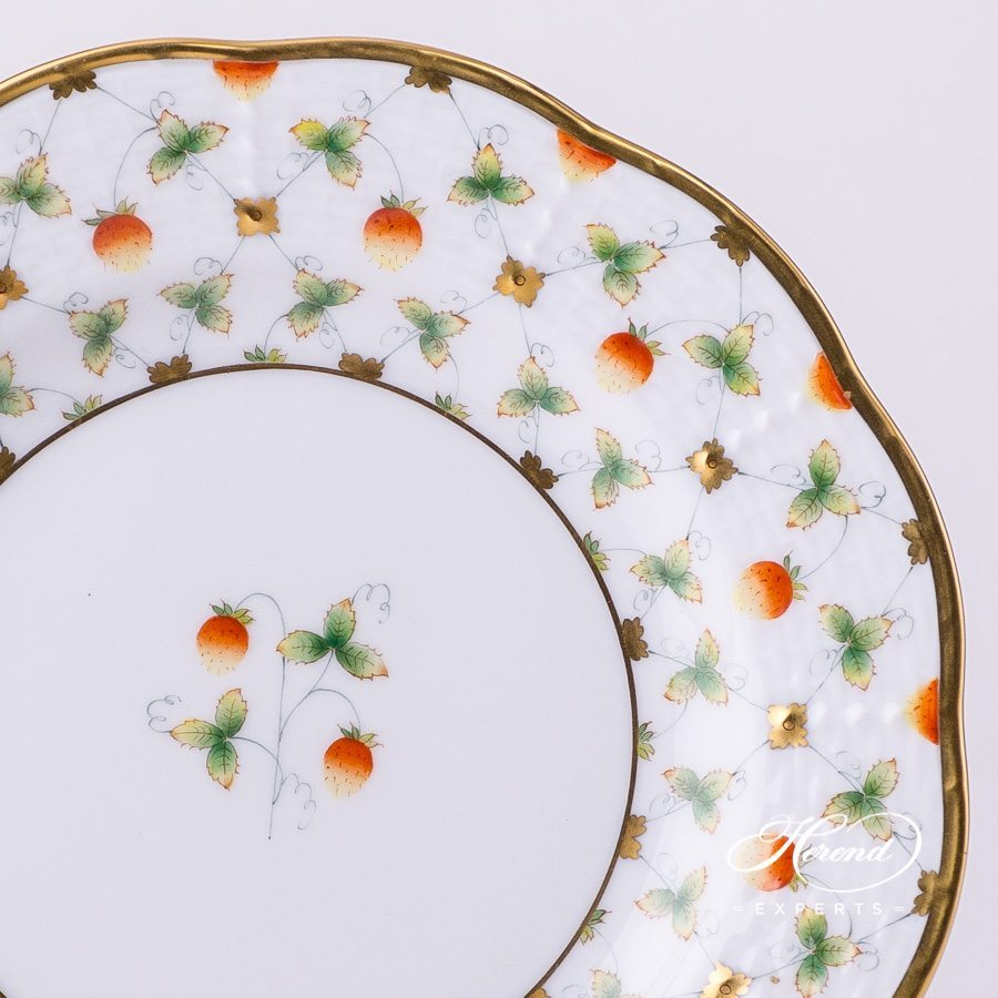 Dessert Plate 516-0-00 FLT Strawberry in Lace pattern - Herend porcelain hand painted