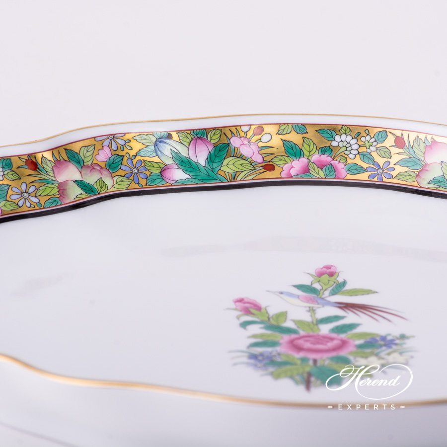 Oval Dish 2211-0-00 ROSE-OR Rose on Gold decor. Herend porcelain hand painted