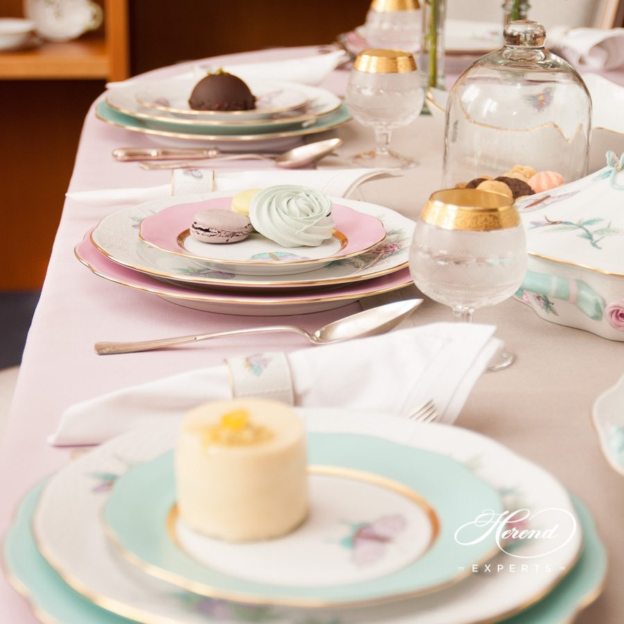 Dinner Set for 6 Persons - Herend Royal Garden EVICT2 Turquoise pattern. Herend porcelain hand painted