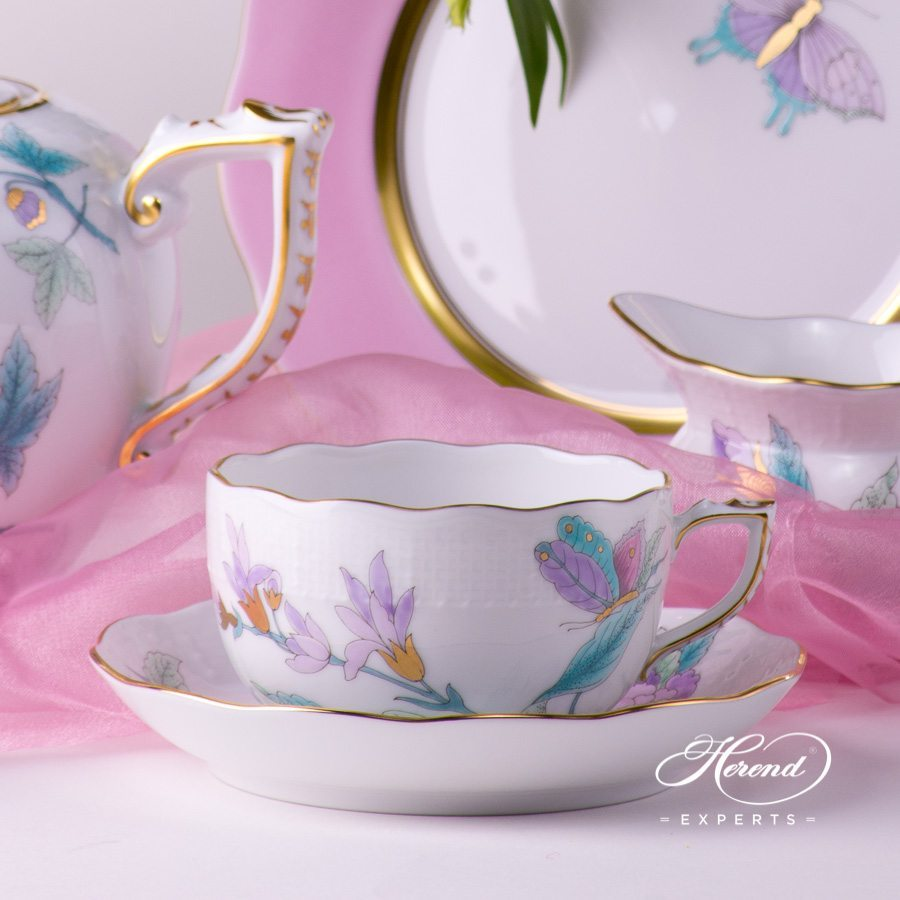Tea Set for 2 Persons Royal Garden EVICT2 and EVICTF2 patterns. Herend porcelain hand painted