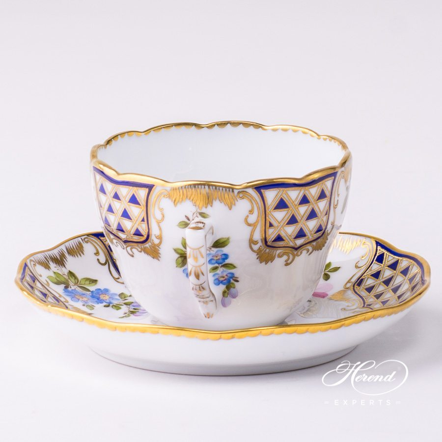 Tea Cup / Coffee Cup with Saucer 20730-0-00 MTFC Mosaic and Flowers decor. Herend porcelain tableware. Hand painted