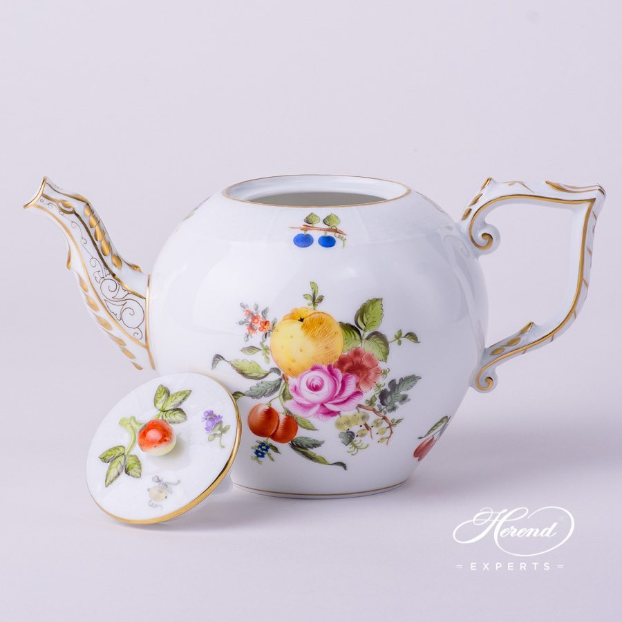 Tea Pot w. Strawberry Knob 605-0-11 BFR Fruit Bouquet pattern. Herend fine china