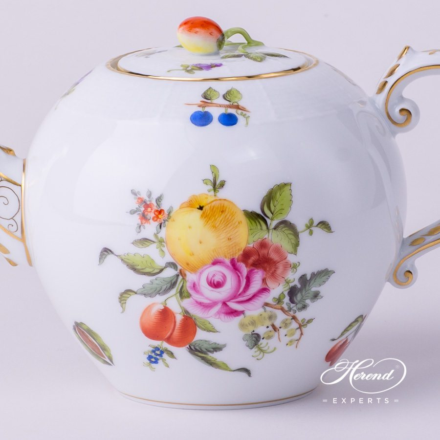 Tea Pot 605-0-11 BFR Fruit Bouquet pattern. Herend porcelain hand painted