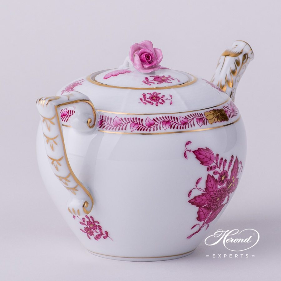 Tea Pot 608-0-09 AP Apponyi Purple pattern. Herend porcelain hand painted